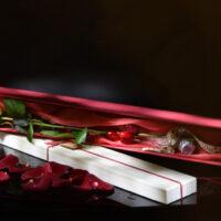 scatola con rosa lunga rossa